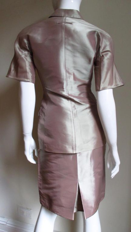 Jean Paul Gaultier Blush Silk Skirt Suit For Sale 1