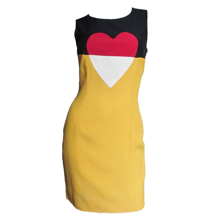 1990s Moschino Couture Color Block Heart Dress