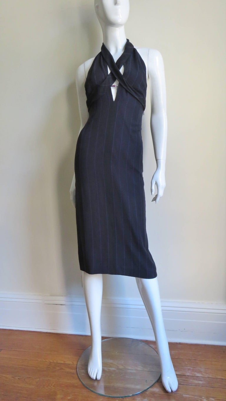 1990s Gianni Versace Hardware Plunge Halter Dress For Sale 4