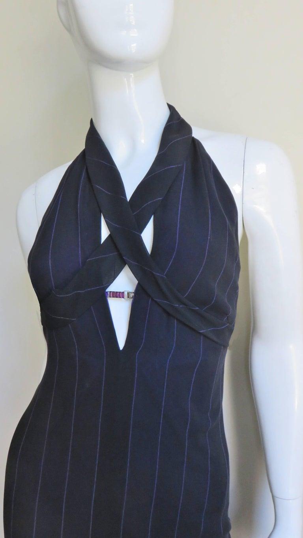 Black 1990s Gianni Versace Hardware Plunge Halter Dress For Sale