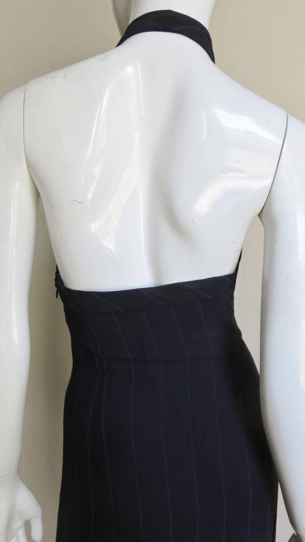 1990s Gianni Versace Hardware Plunge Halter Dress For Sale 6