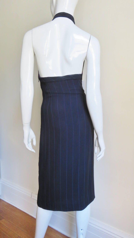 1990s Gianni Versace Hardware Plunge Halter Dress For Sale 5