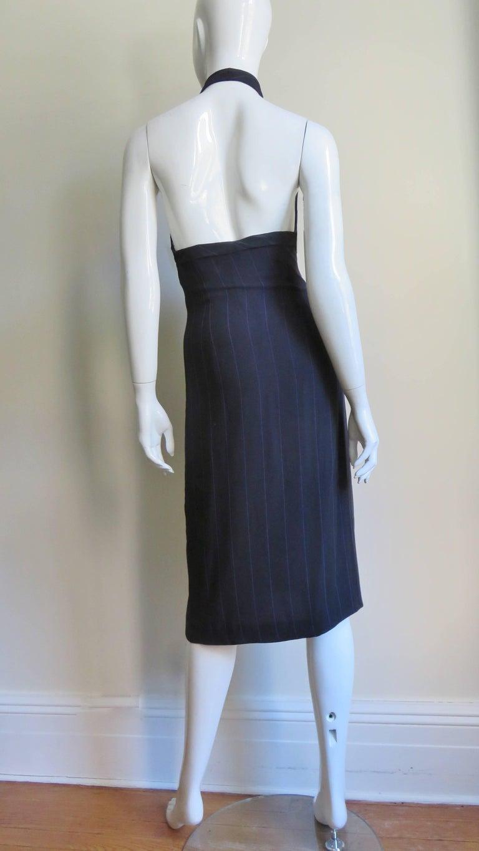 1990s Gianni Versace Hardware Plunge Halter Dress For Sale 9