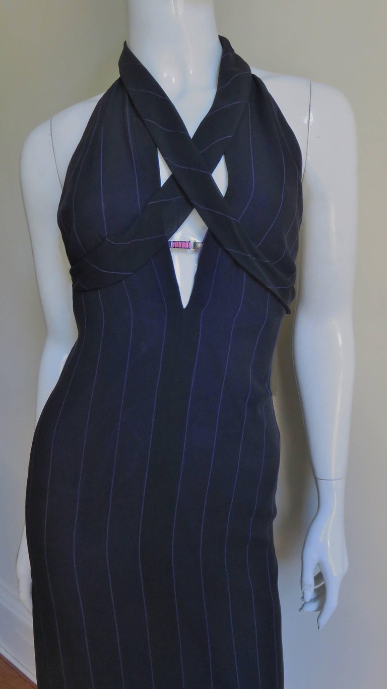 1990s Gianni Versace Hardware Plunge Halter Dress In Good Condition For Sale In New York, NY