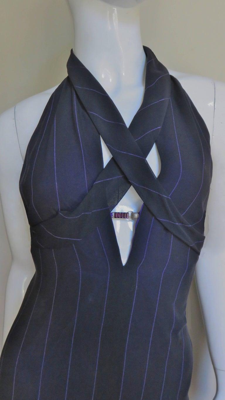 Women's 1990s Gianni Versace Hardware Plunge Halter Dress For Sale