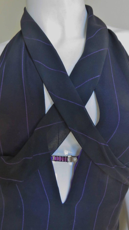 1990s Gianni Versace Hardware Plunge Halter Dress For Sale 1