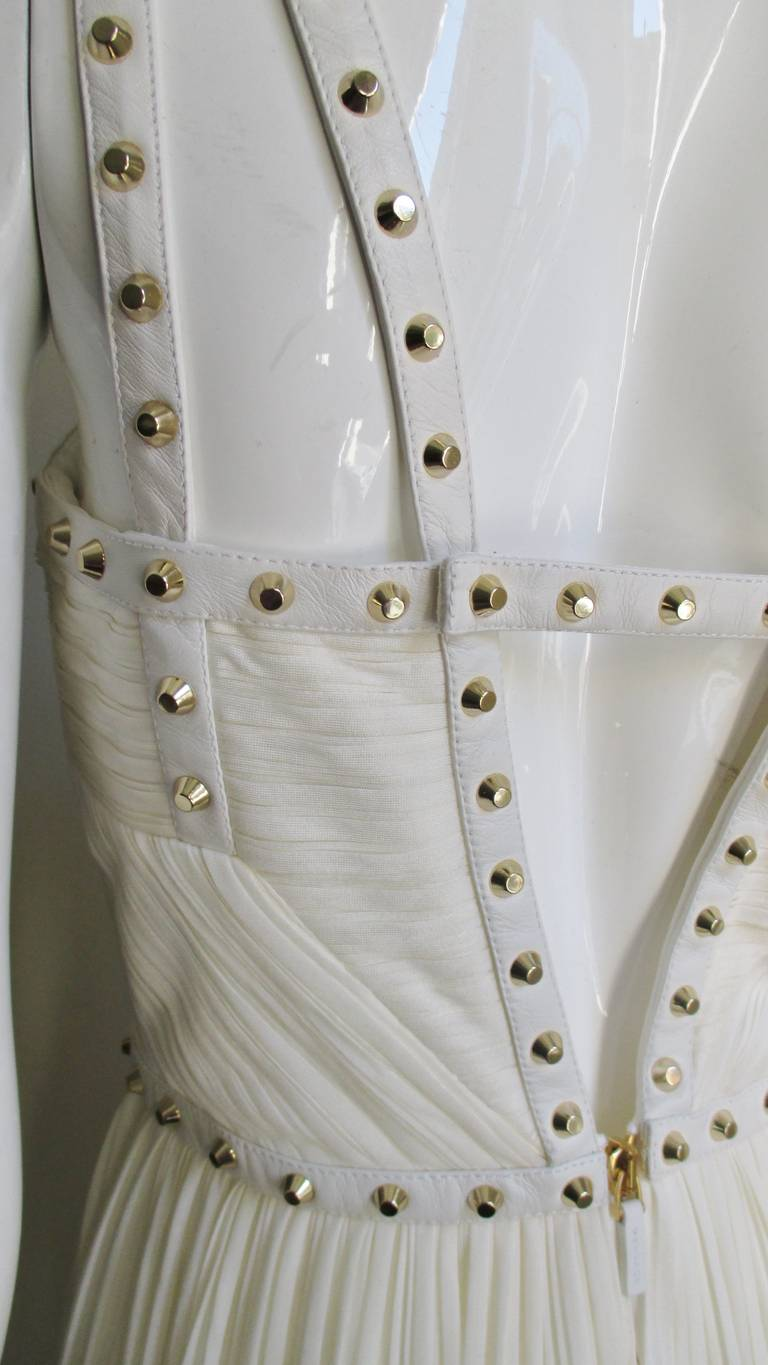 Gray Versace Dress With Leather Straps, Silk and Studs For Sale