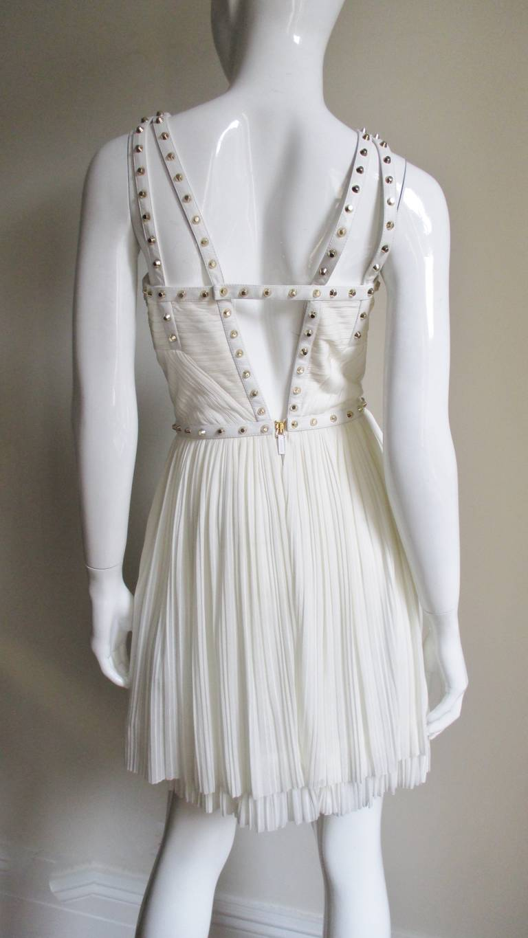 Versace Dress With Leather Straps, Silk and Studs In Excellent Condition For Sale In New York, NY