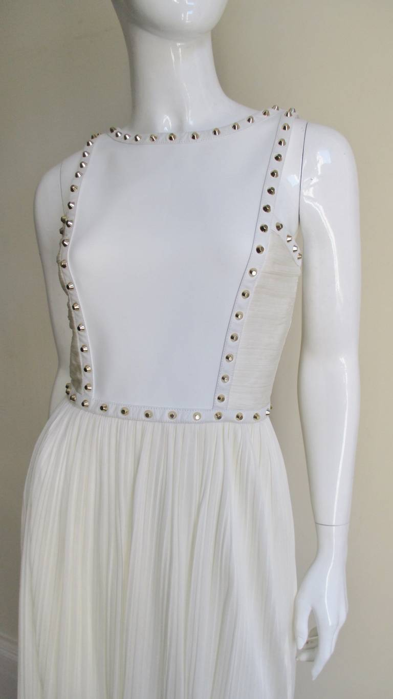 Versace Dress With Leather Straps, Silk and Studs For Sale 2