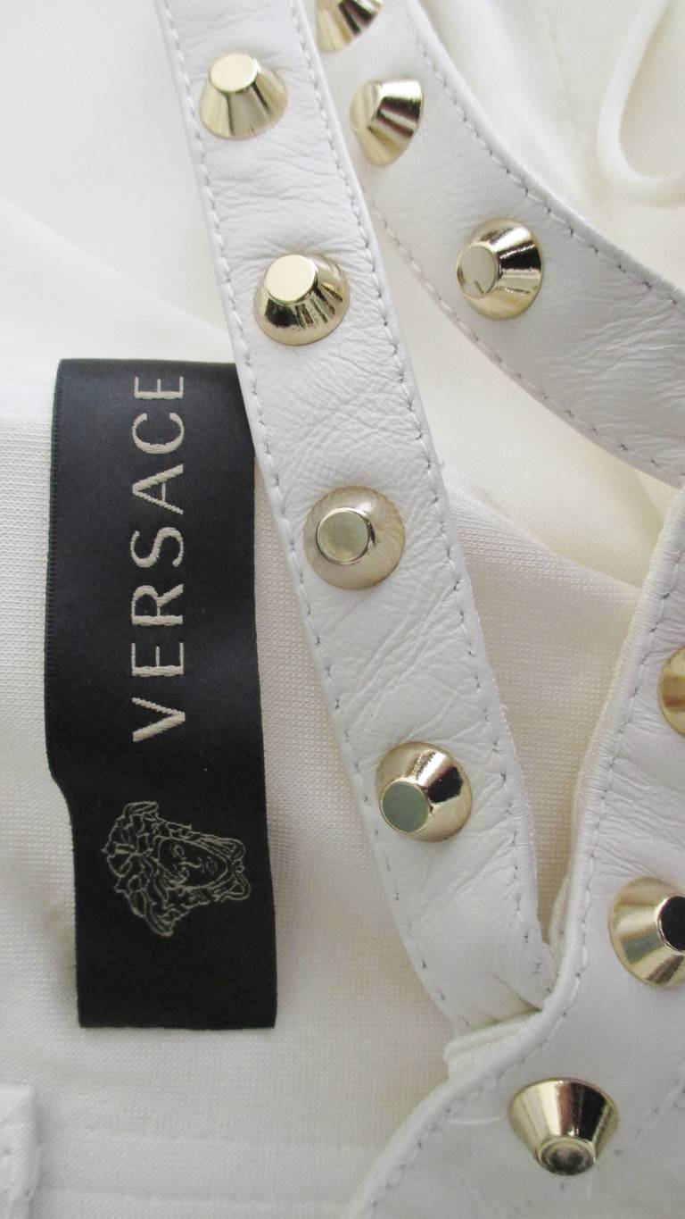Versace Dress With Leather Straps, Silk and Studs For Sale 5