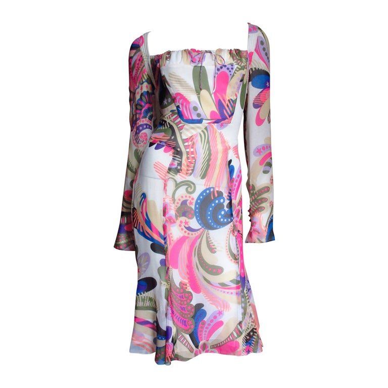 1990s Gianni Versace Couture Mod Silk Print Dress