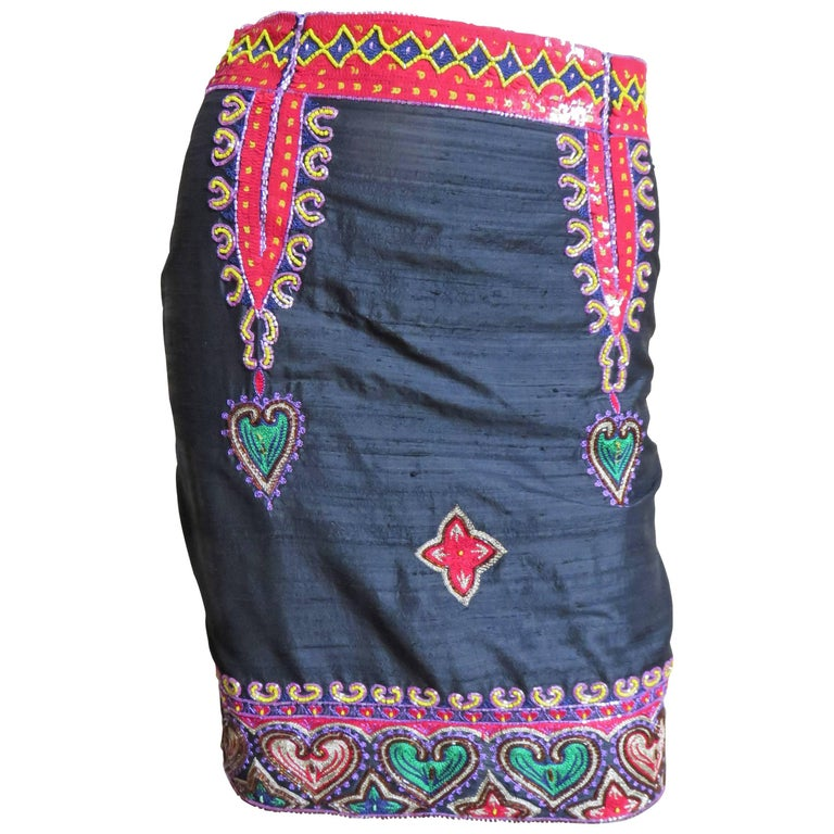 1980s Todd Odham Beaded Embroidered Silk Skirt For Sale