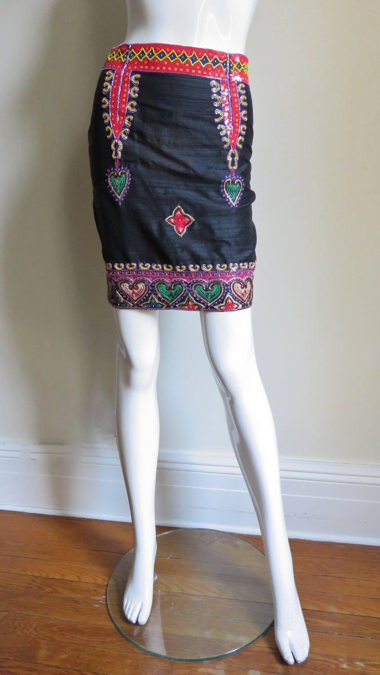 Purple 1980s Todd Odham Beaded Embroidered Silk Skirt For Sale