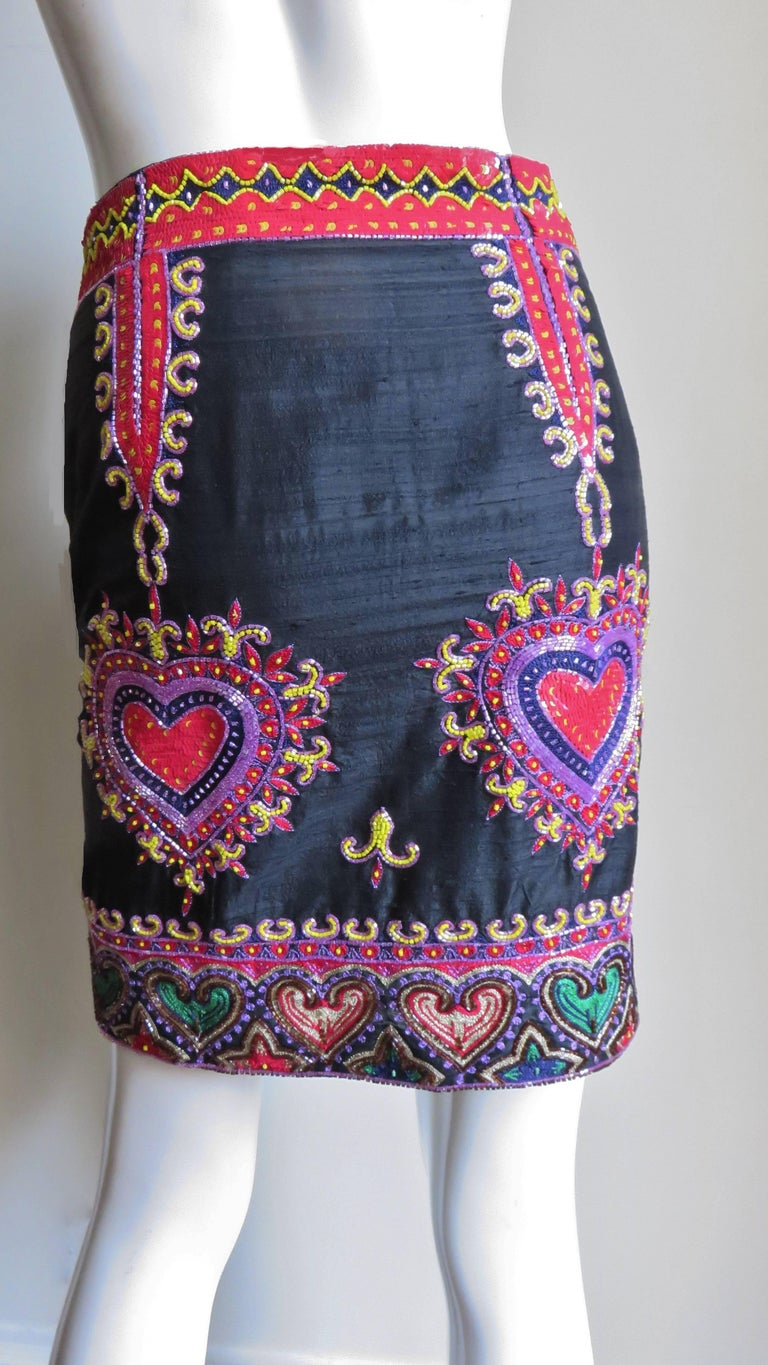 1980s Todd Odham Beaded Embroidered Silk Skirt In Good Condition For Sale In New York, NY