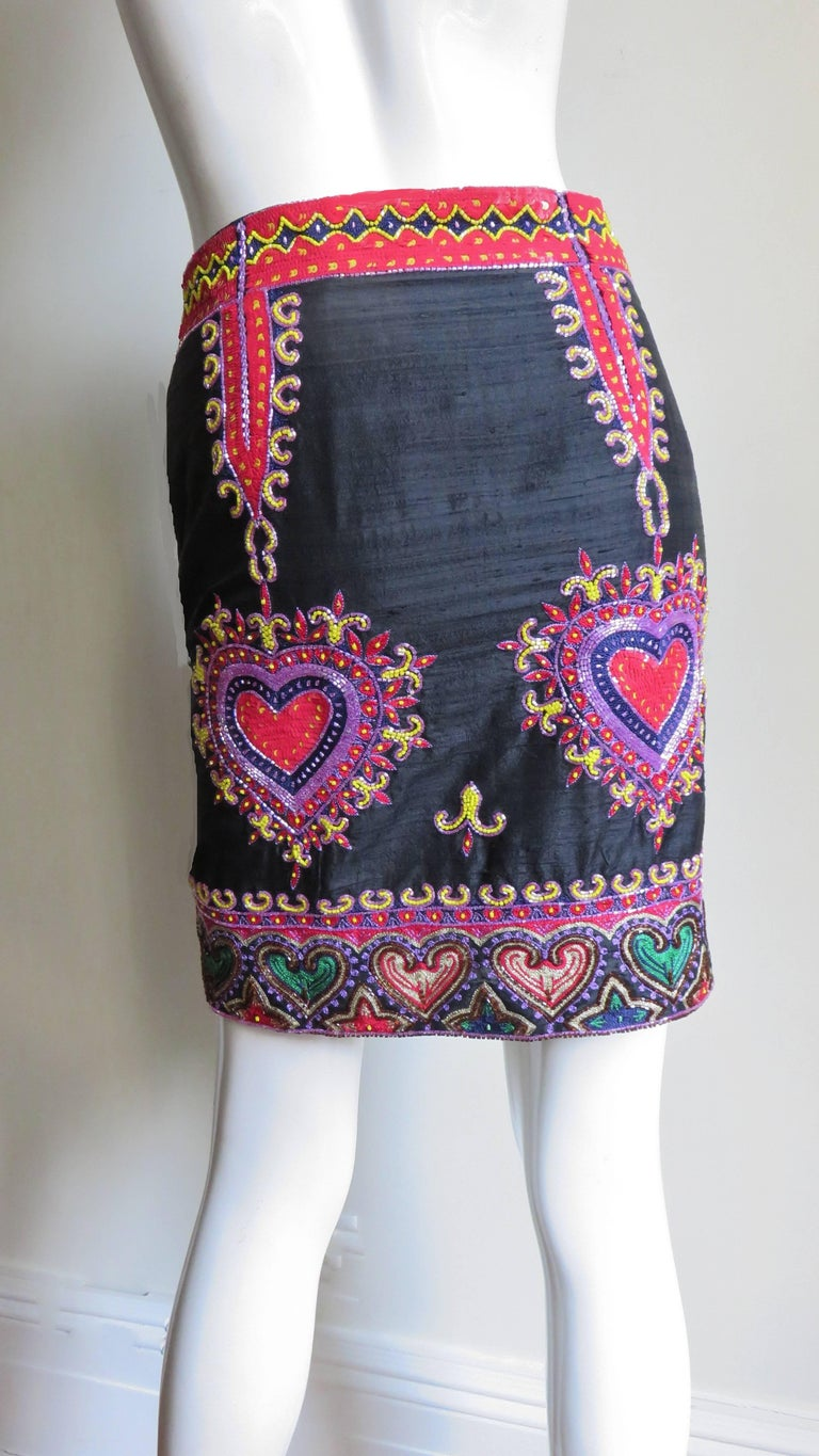 Women's 1980s Todd Odham Beaded Embroidered Silk Skirt For Sale