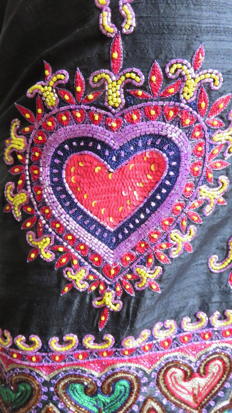 1980s Todd Odham Beaded Embroidered Silk Skirt For Sale 1
