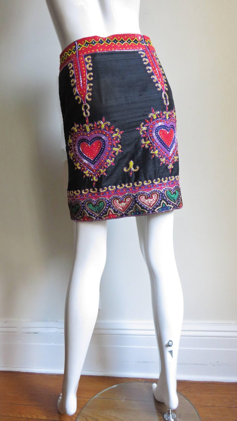 1980s Todd Odham Beaded Embroidered Silk Skirt For Sale 2