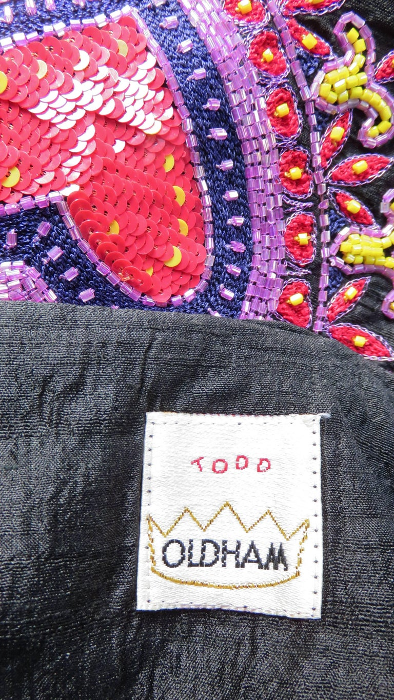 1980s Todd Odham Beaded Embroidered Silk Skirt For Sale 3