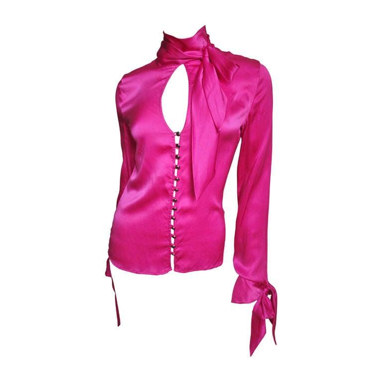 1990S Gianni Versace Magenta Silk Tie Neck & Cuffs Shirt