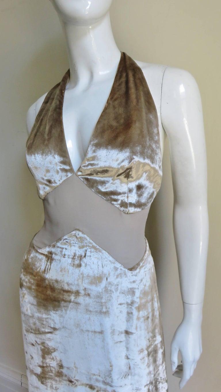 Gray 1990s Gianni Versace Silk Sheer Waist Plunge Halter Dress For Sale