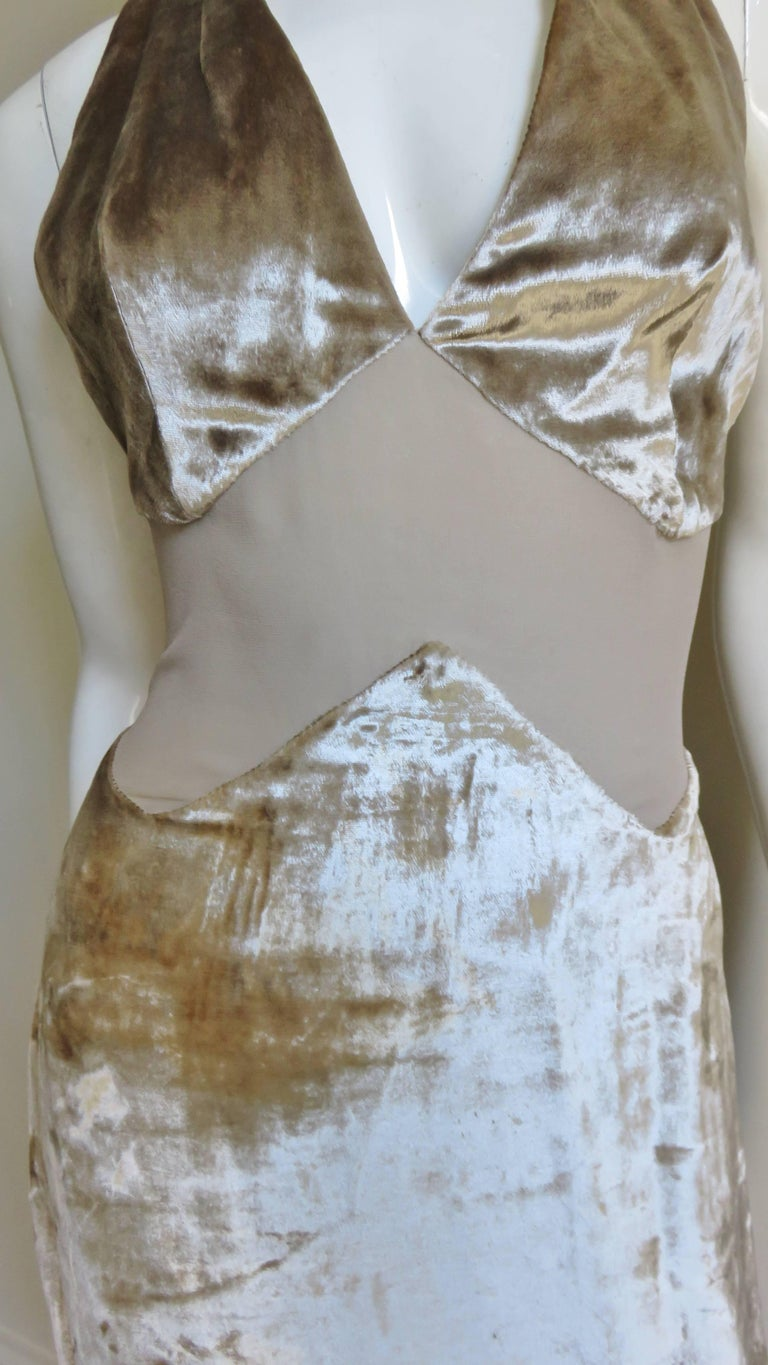 1990s Gianni Versace Silk Sheer Waist Plunge Halter Dress In Good Condition For Sale In New York, NY