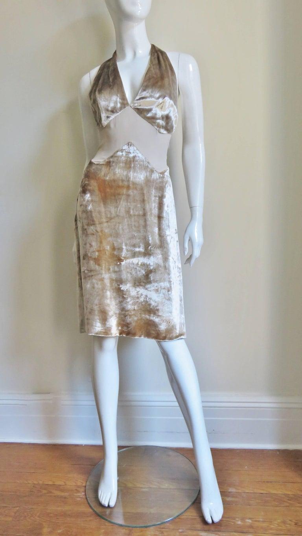 1990s Gianni Versace Silk Sheer Waist Plunge Halter Dress For Sale 1
