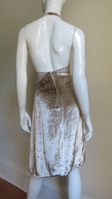 1990s Gianni Versace Silk Sheer Waist Plunge Halter Dress For Sale 2