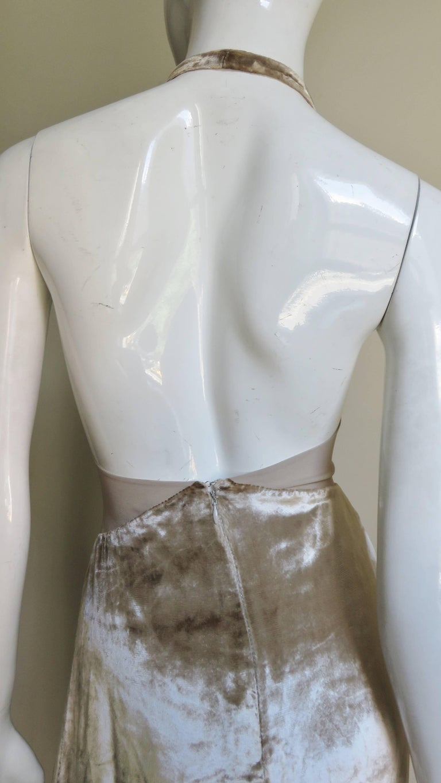 1990s Gianni Versace Silk Sheer Waist Plunge Halter Dress For Sale 3