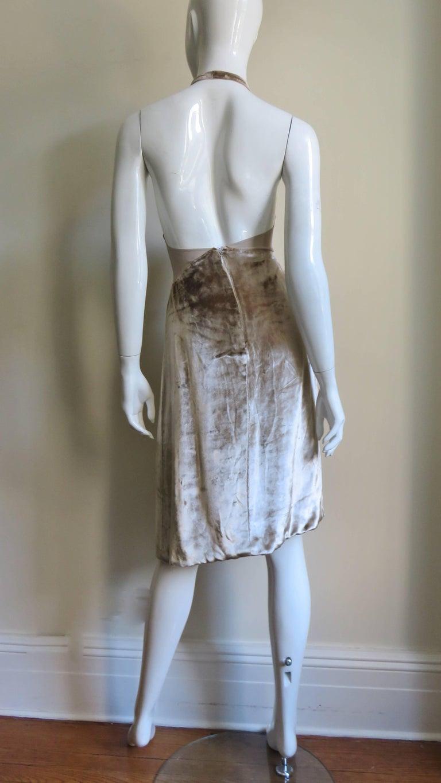 1990s Gianni Versace Silk Sheer Waist Plunge Halter Dress For Sale 4