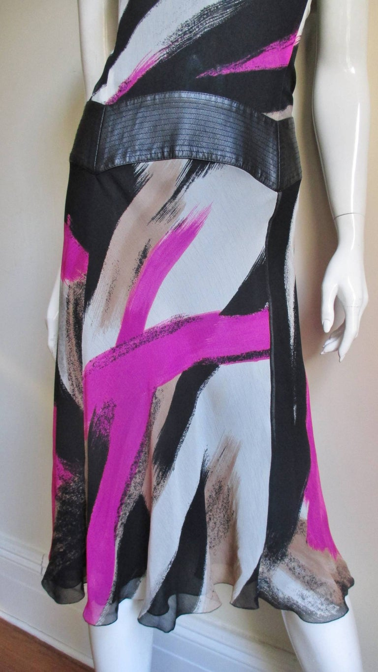1990s Gianni Versace Silk Dress with Leather Band In Good Condition For Sale In New York, NY