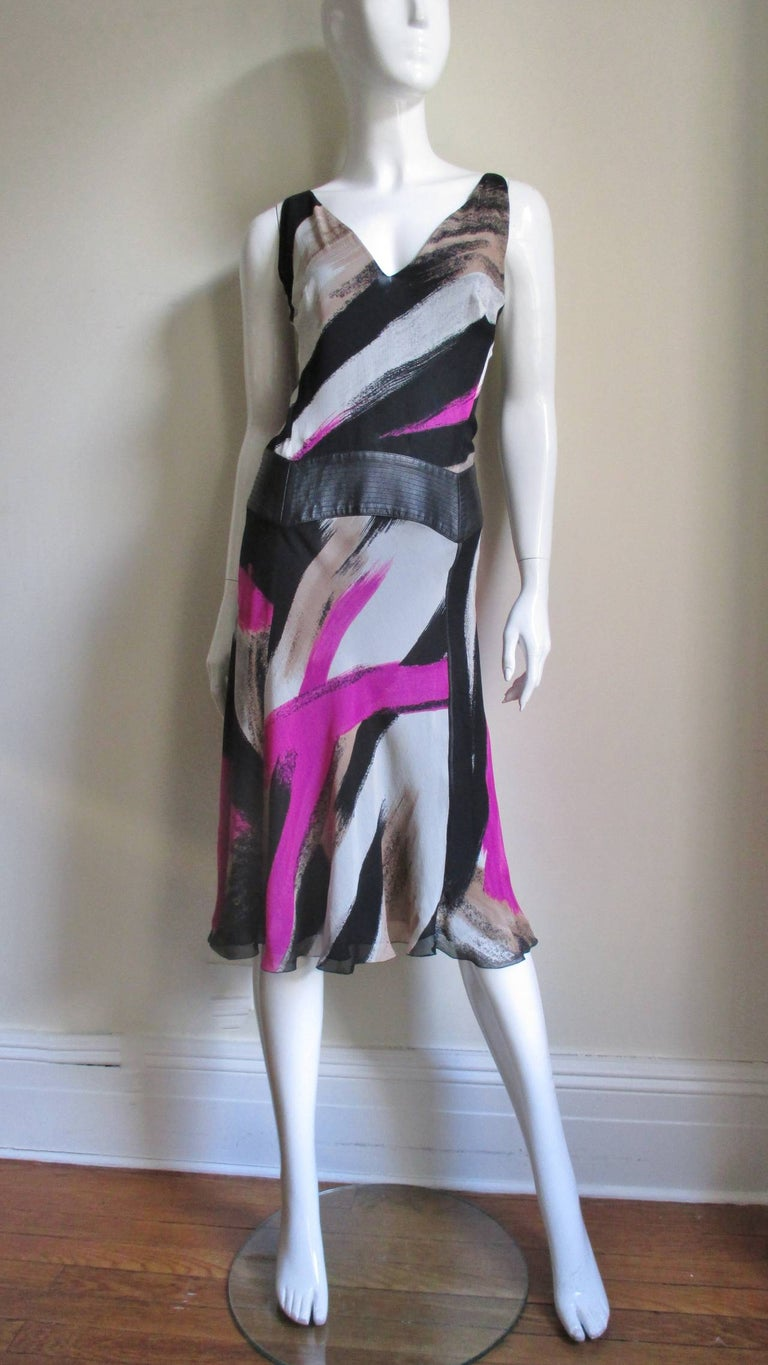 Women's 1990s Gianni Versace Silk Dress with Leather Band For Sale