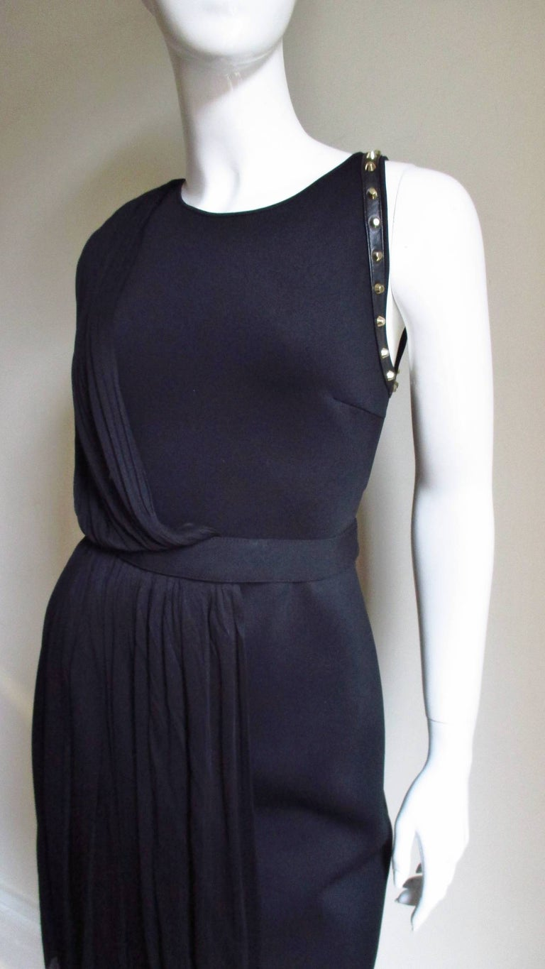 Black Versace Silk Draped Dress with Leather and Studs Trim For Sale