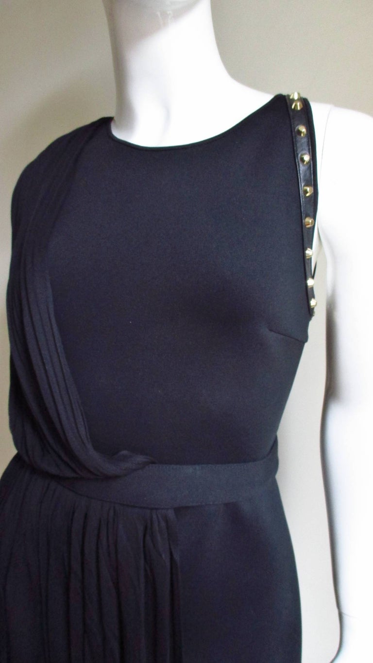 Black Versace Silk Draped Dress with Leather and Studs For Sale