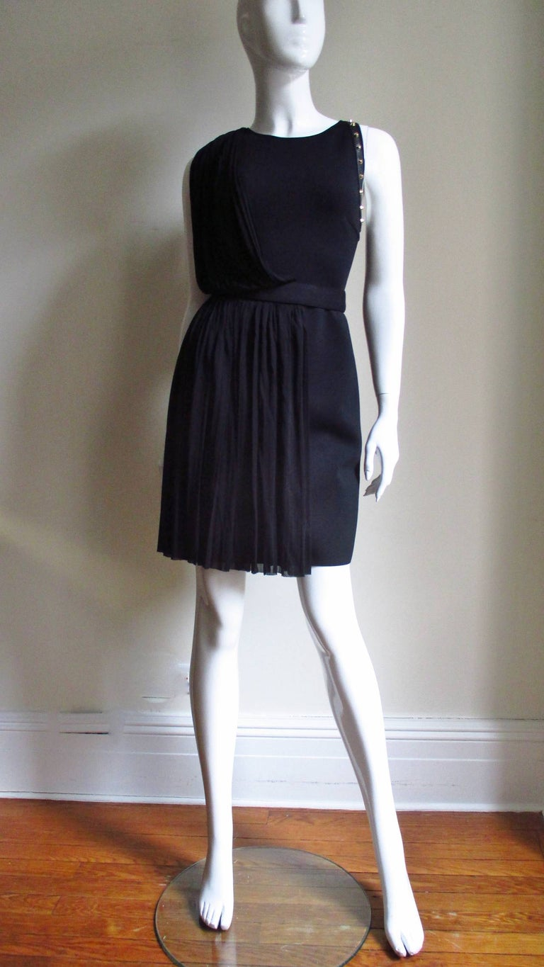 Versace Silk Draped Dress with Leather and Studs Trim For Sale 2