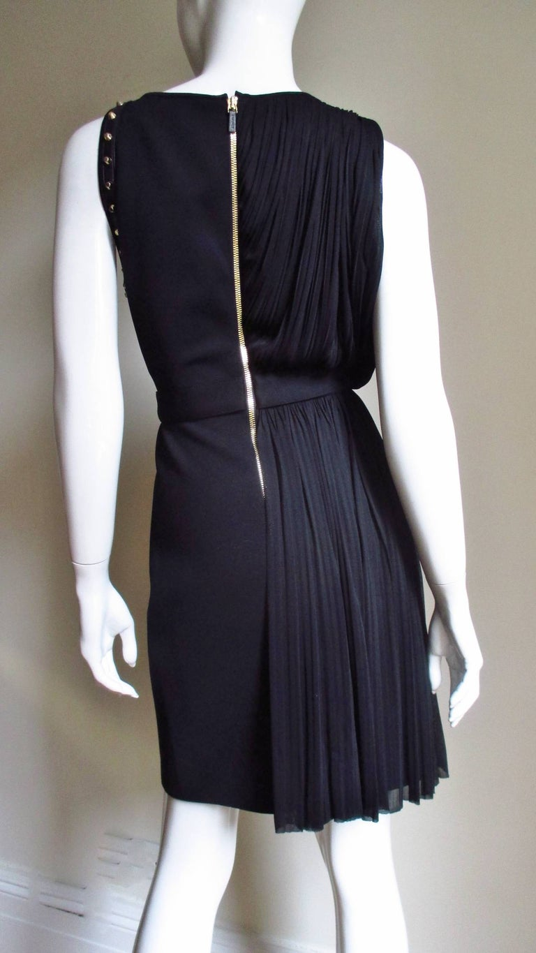 Versace Silk Draped Dress with Leather and Studs For Sale 1