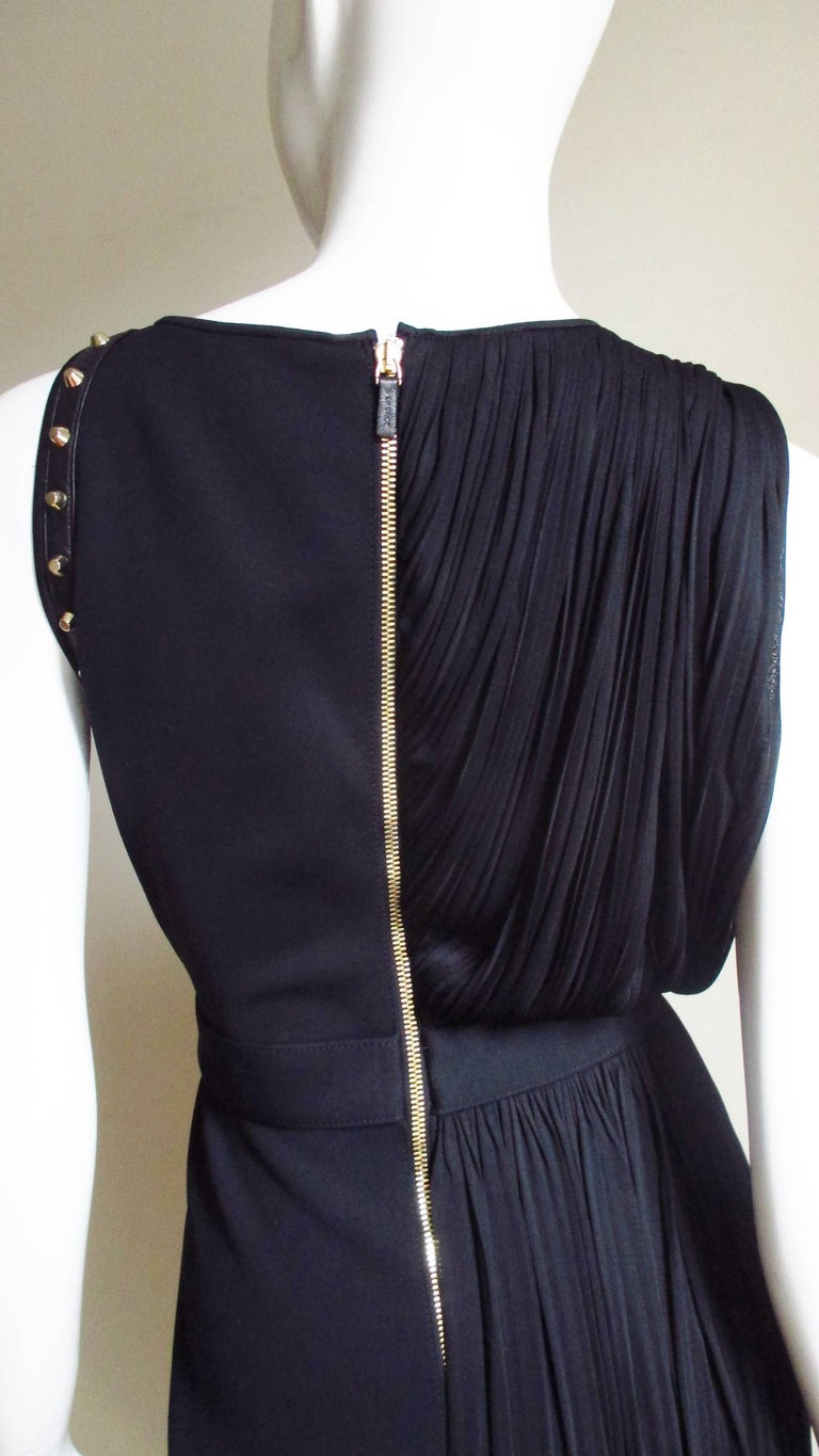 Versace Silk Draped Dress with Leather and Studs Trim For Sale 4