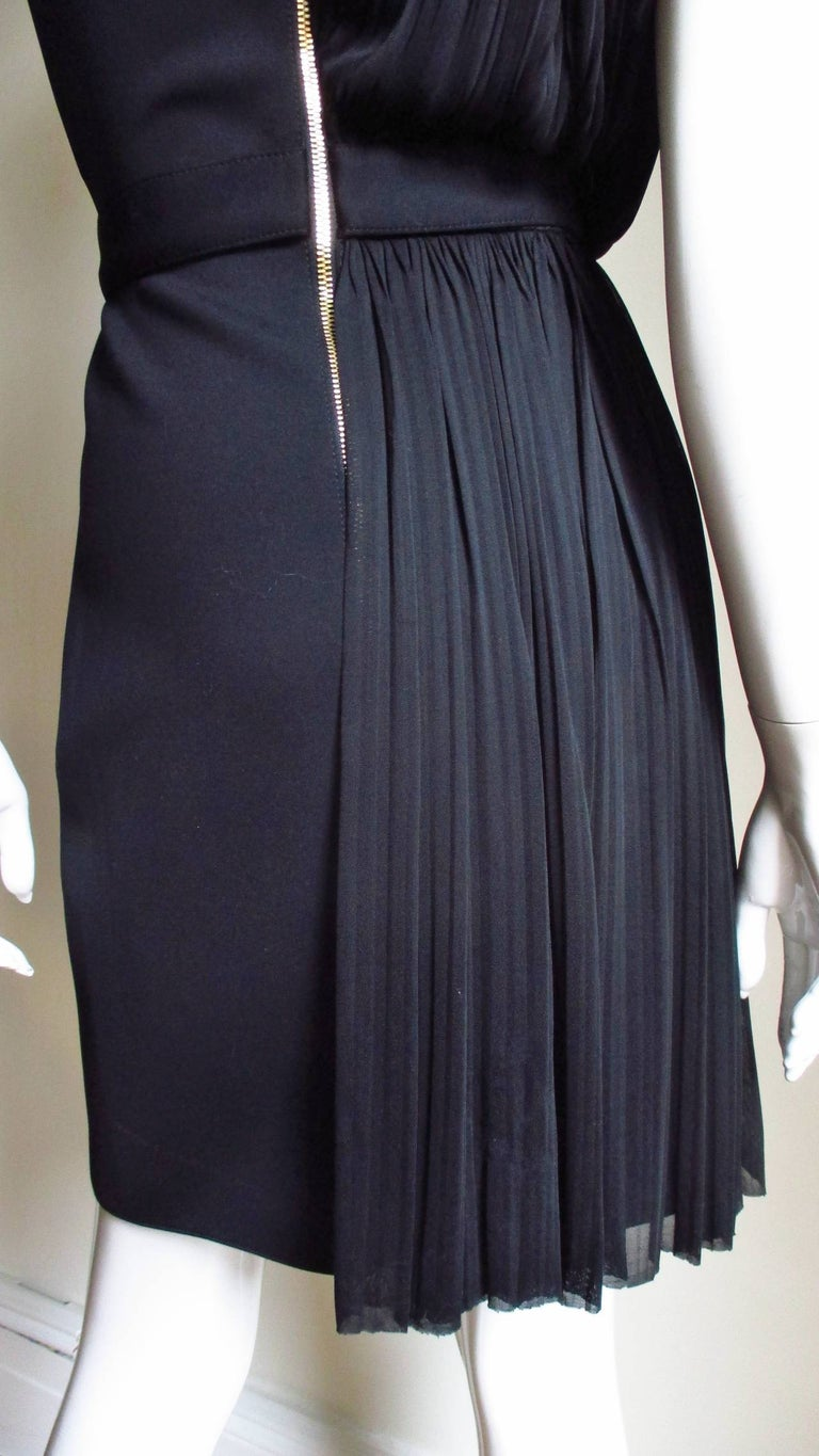 Versace Silk Draped Dress with Leather and Studs Trim For Sale 5