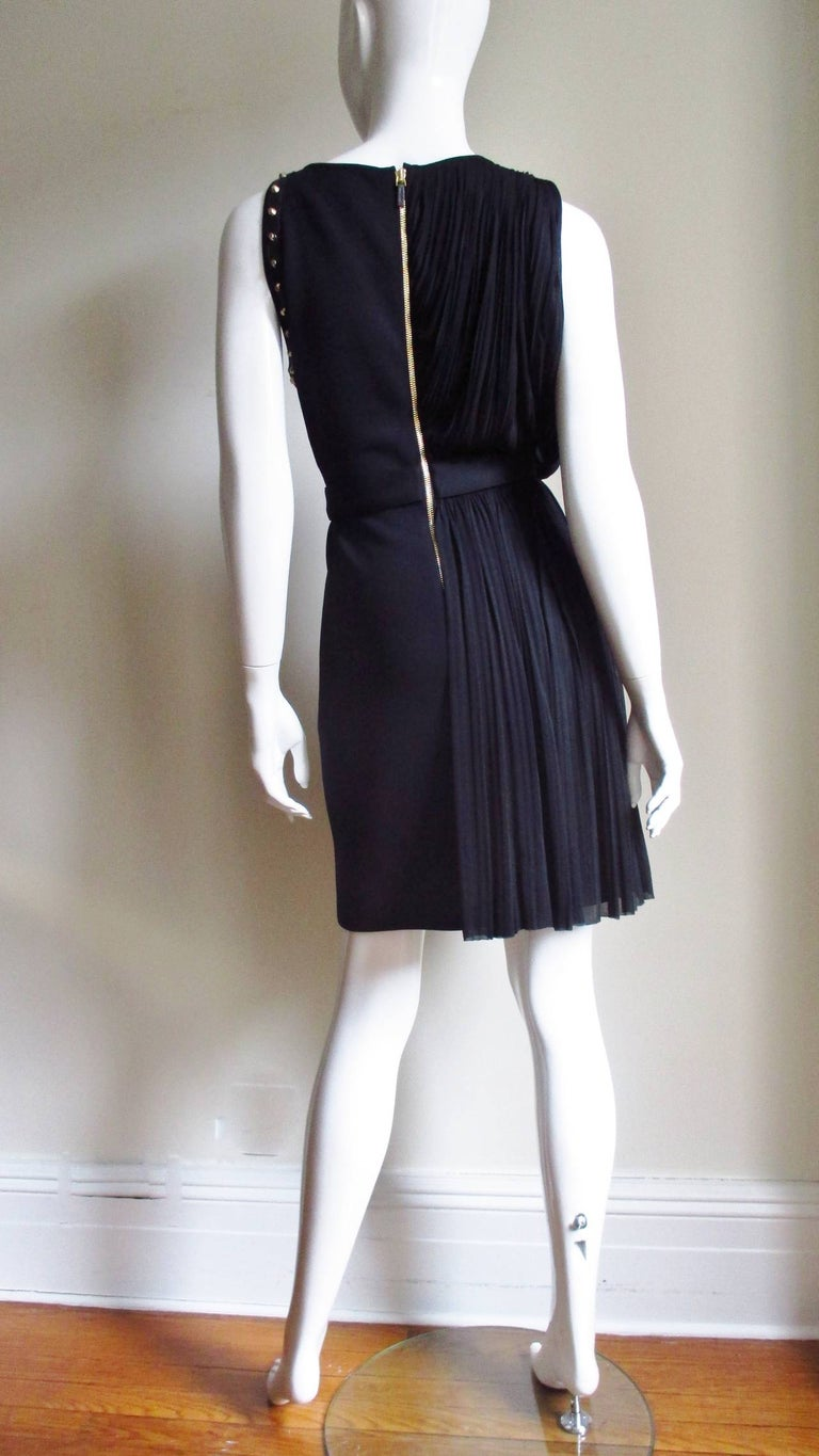 Versace Silk Draped Dress with Leather and Studs Trim For Sale 6