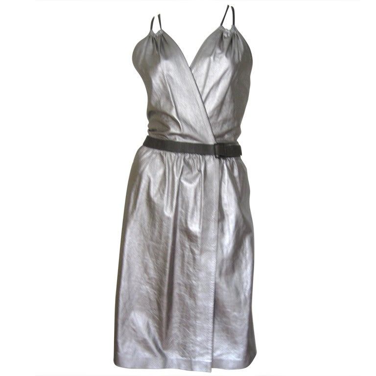 Tom Ford Gucci Silver Leather Halter Wrap Dress