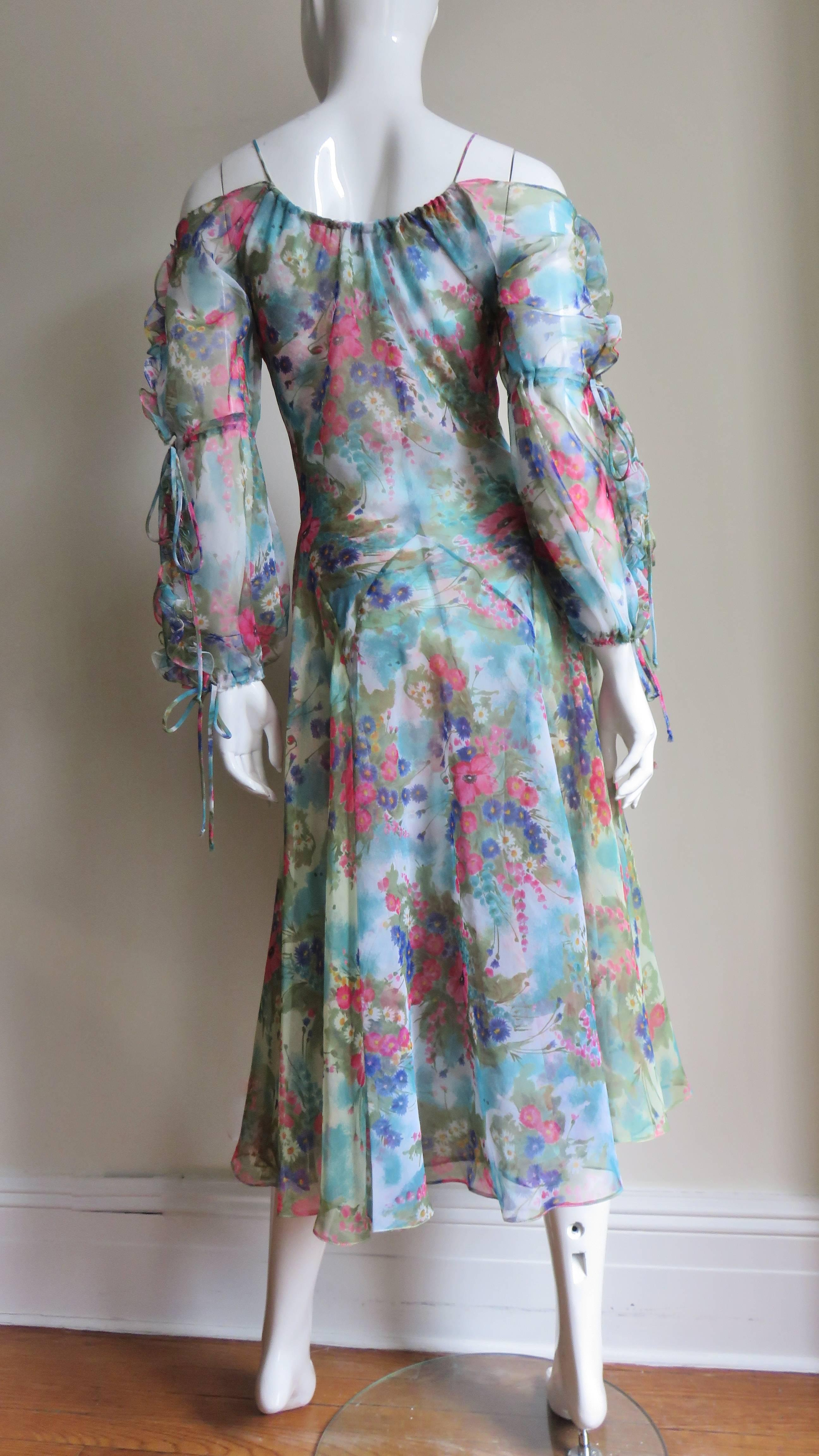 598be60cef 1970s Giorgio Sant'Angelo Dress with Cutout Sleeves For Sale at 1stdibs