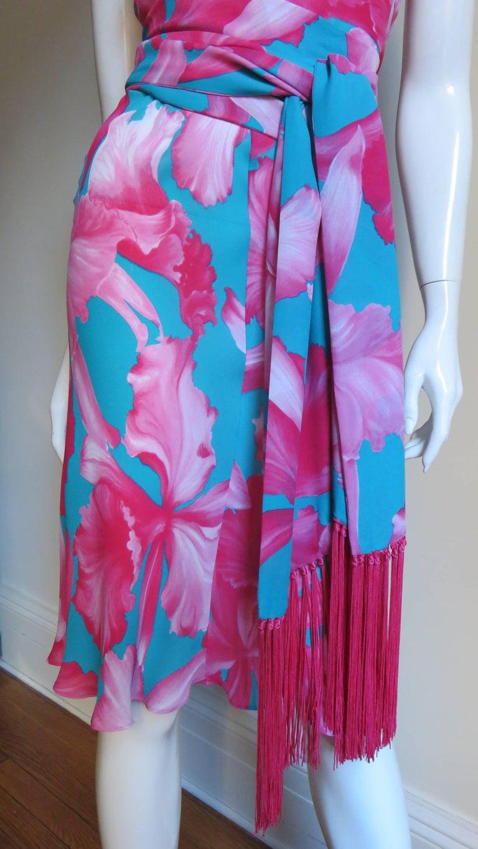 Women's  Celine Flower Print Silk Dress with Fringe Wrap For Sale