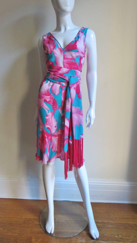 Celine Flower Print Silk Dress with Fringe Wrap For Sale 3