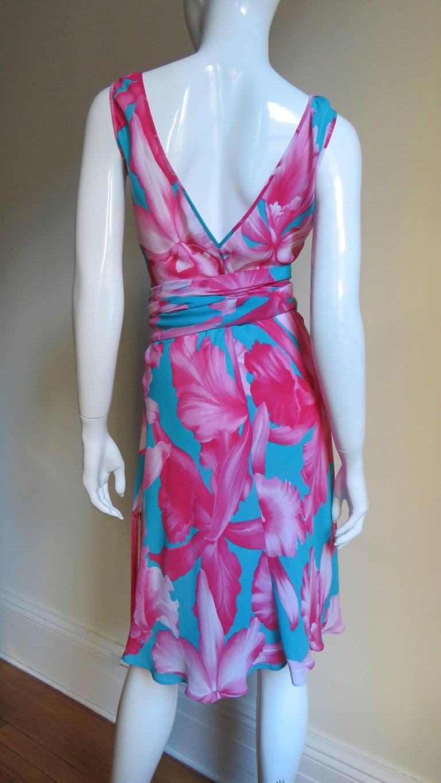 Celine Flower Print Silk Dress with Fringe Wrap For Sale 4