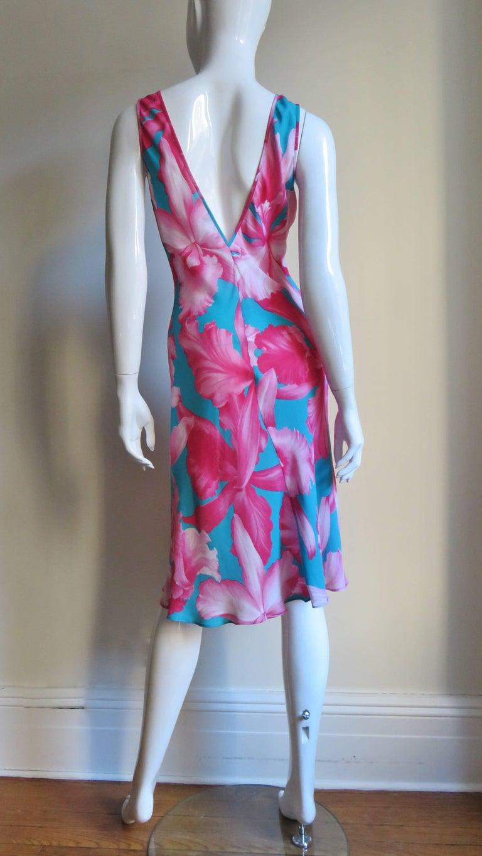 Celine Flower Print Silk Dress with Fringe Wrap For Sale 6