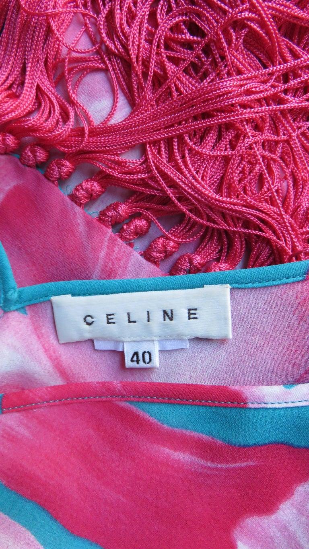 Celine Flower Print Silk Dress with Fringe Wrap For Sale 7
