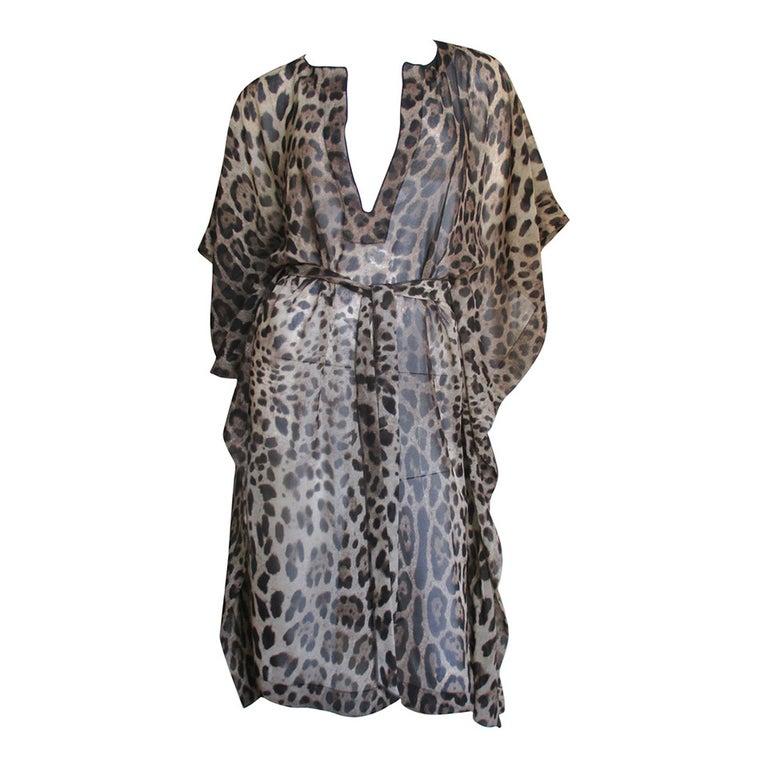 Dolce & Gabbana Leopard Silk Caftan Dress