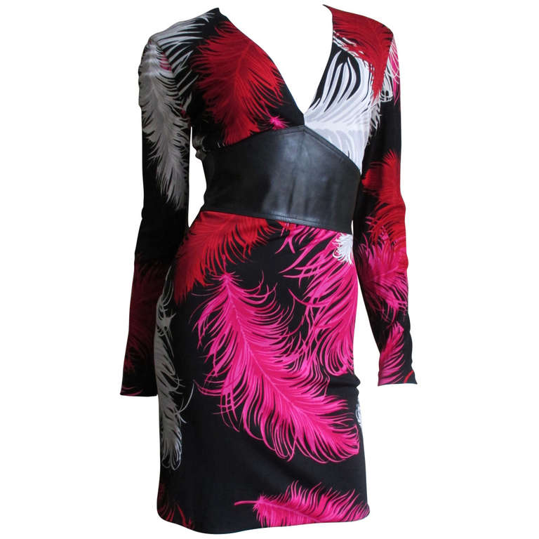 1990s Gianni Versace Silk Feather Print Leather Waist Dress