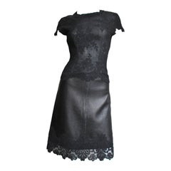 1990s Gianni Versace Leather and Lace Dress
