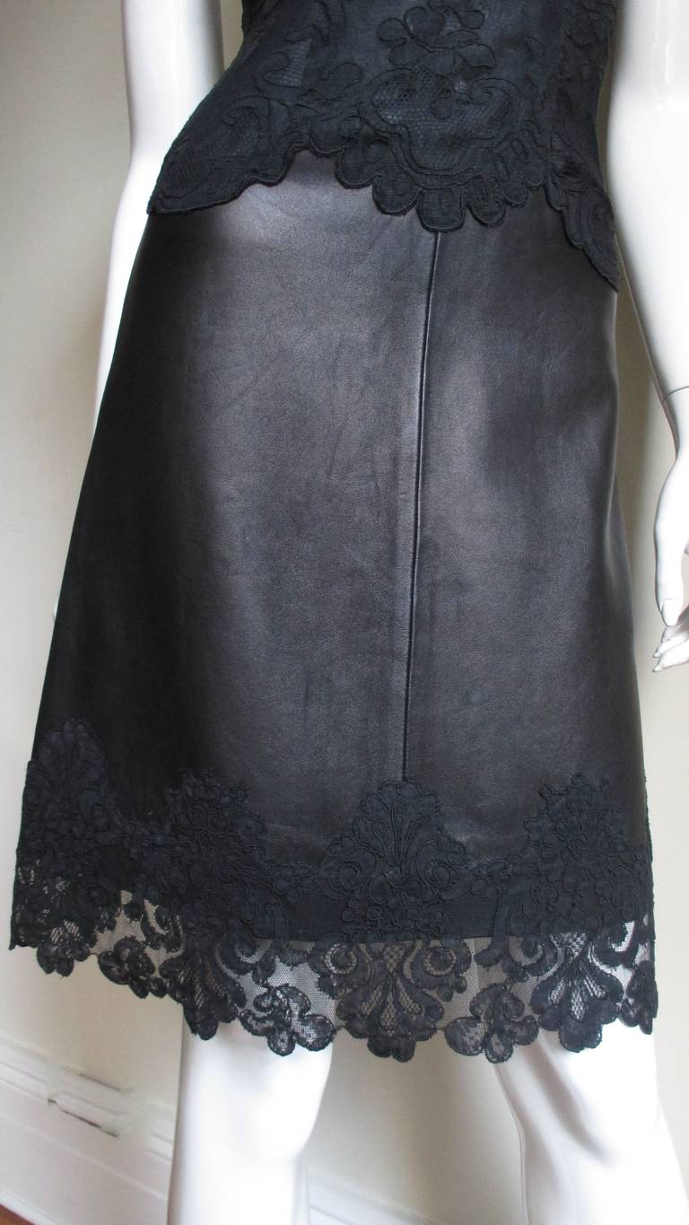 Gianni Versace Leather and Lace Dress For Sale 2