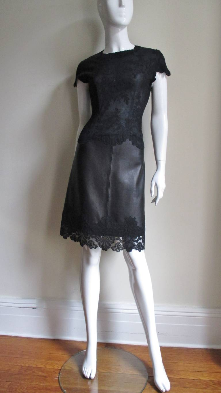 Gianni Versace Leather and Lace Dress For Sale 5